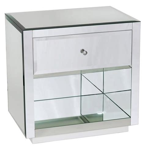 Glass Nightstand Sheen Regency Modern Mirror Glass Nightstand