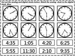 cut and paste digital clocks and activities on pinterest