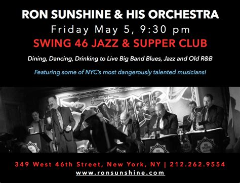 swing 46 calendar upcoming events ron sunshine his orchestra at swing 46