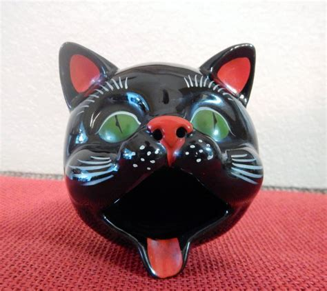 vintage ceramic ls 1950s vintage shafford redware black cat ashtray