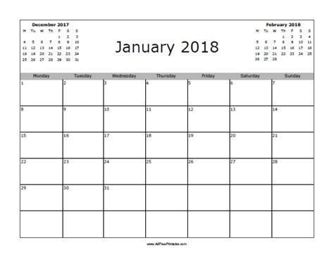 printable free january 2018 calendar january 2018 calendar free printable allfreeprintable com