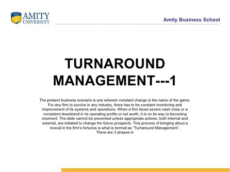 Strategic Financial Management Notes For Mba by De955 Turnaround Management 1