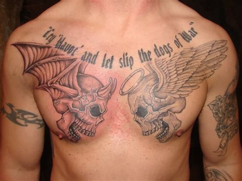 good tattoos and evil winged skulls tattoos on chest