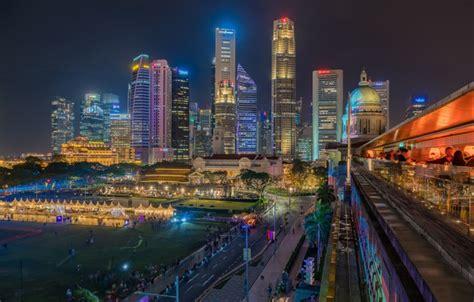 wallpaper building singapore night city skyscrapers
