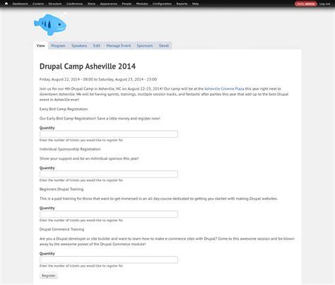 drupal theme user register form provide event conference tickets registrations