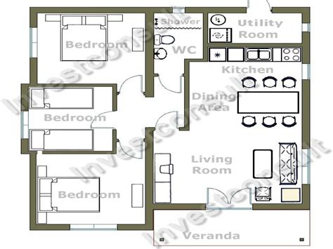 Small 3 Bedroom House Floor Plans Small 3 Bedroom House Floor Plans 2 Bedroom House Layouts Small Building Plan Mexzhouse