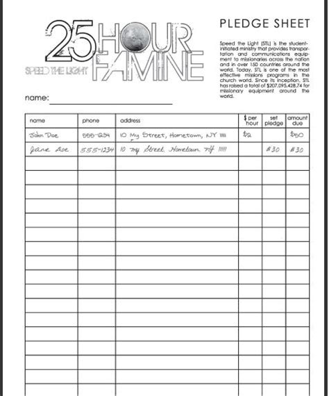 pledge forms template rym