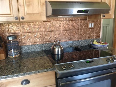 Kitchen Tin Backsplash Shiny Copper Backsplash Contemporary Kitchen Ta By American Tin Ceilings