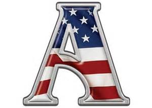 reflective letter a with flag patriotic reflective