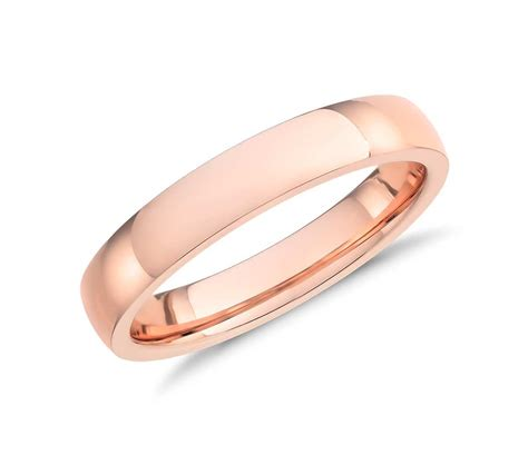 rose gold low dome comfort fit wedding ring in 14k rose gold 4mm