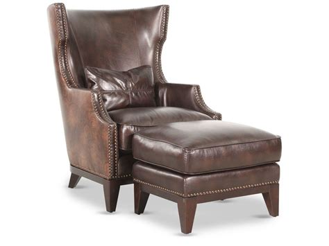 brown leather chair with ottoman nailhead accented leather 34 quot chair with ottoman in brown