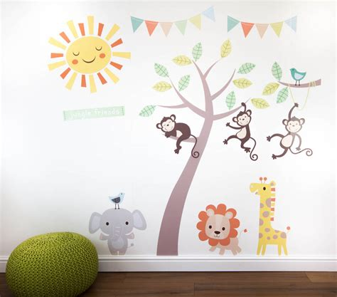Wall Sticker Baby Shower pastel jungle animal wall stickers by parkins interiors notonthehighstreet