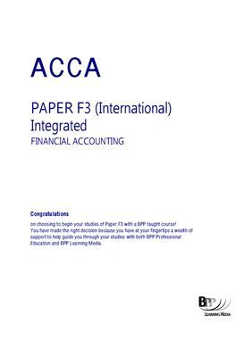 Acca F3 Integrated Financial Accounting Course Companion