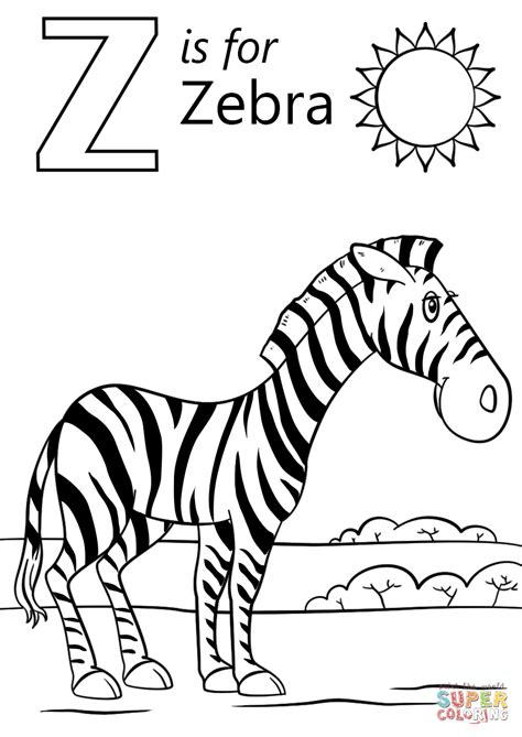 Z Zebra Coloring Page letter z is for zebra coloring page free printable