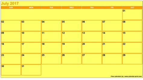 Calendar 2017 July To October July 2017 Calendar