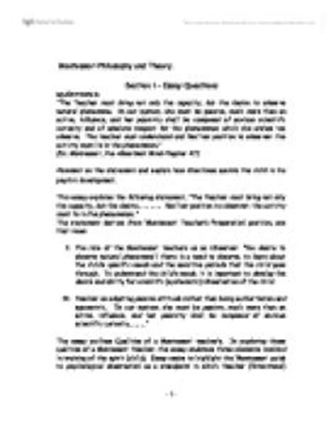Montessori Theory Essay by The Of The Montessori Education And Teaching Marked By Teachers