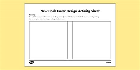 design a front cover ks2 new book cover design activity sheet irish worksheet