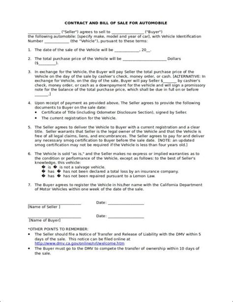 bill of sale contract template 10 business contract sles templates free pdf word