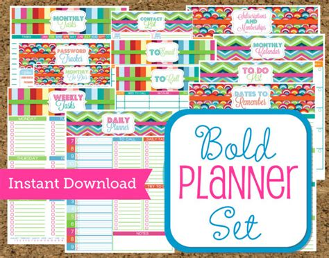 printable business planners and organizers instant download planner printables set bold pattern home and