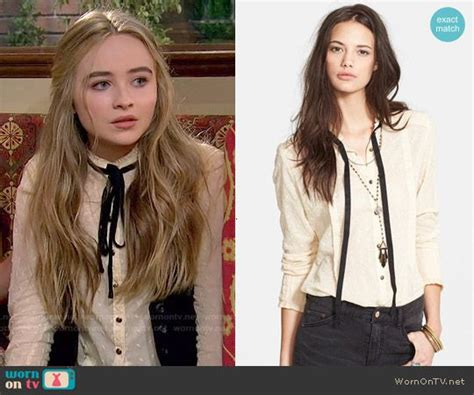 Basic Sabrina Peplum s embroidered top with neck tie on meets world details http wornontv