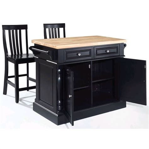Crosley Butcher Block Top Kitchen Island Crosley Oxford Butcher Block Top Kitchen Island With Stools In Black Kf300062bk
