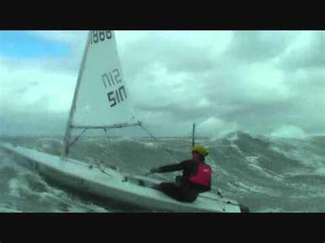 sailing boat in big waves laser sailing big air and waves youtube