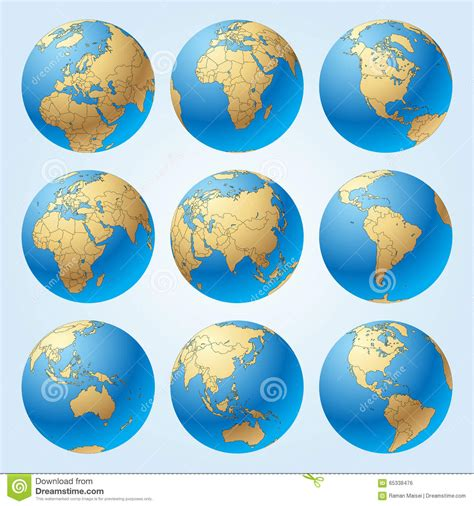 Globe Set by Globe Set With Borders Of Countries Stock Vector Image