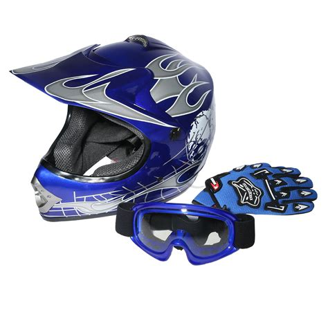 blue motocross helmet youth blue skull dirt bike atv motocross atv helmet