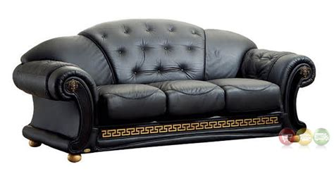 Luxury Italian Leather Sofas Versace Luxury Button Tufted Black Italian Leather Pull Out Sleeper Sofa