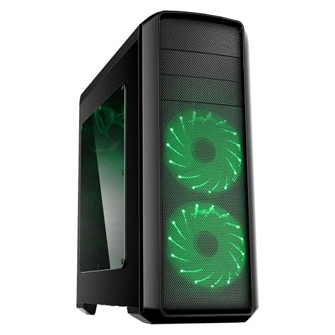green led computer fan game max volcano gaming pc case green led front fans