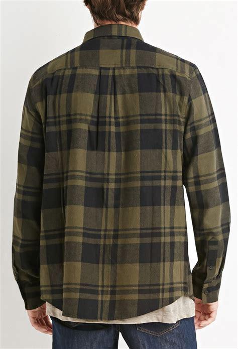 Kemeja Flannel Tartan Black Grey lyst forever 21 tartan plaid flannel in gray for