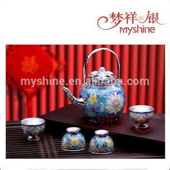 Ethnic Styles Kyushu Tea Set by Vintage Design Enamel Pot And Cups Silver Tea Set