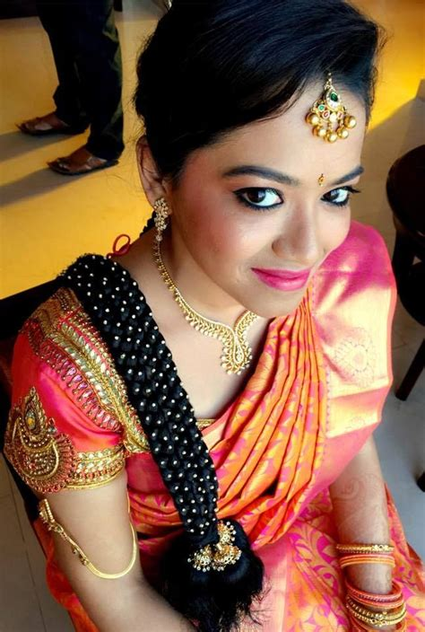 hairstyle design for saree traditional southern indian bride s bridal braid hair
