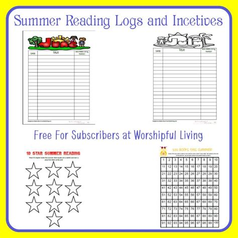 free printable reading incentive charts the importance of summer reading worshipful living