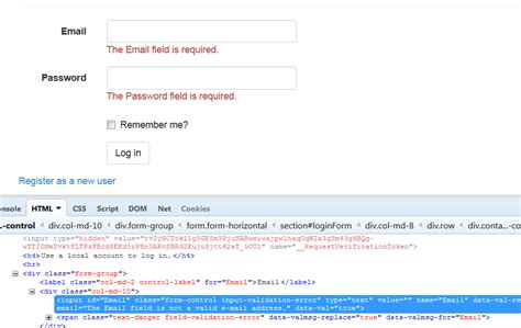 error validation pattern login css missing class definition for quot input validation error