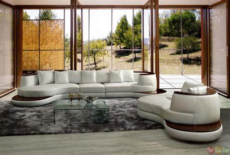 white sofa with wood trim divani casa rodus contemporary white leather sectional sofa
