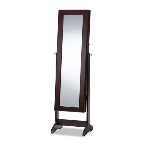 free standing jewelry armoire with mirror baxton studio alena brown finishing wood free standing