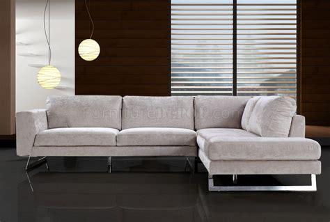 Beige Microfiber Modern Sectional Sofa W Chrome Metal Legs Modern Microfiber Sectional Sofas