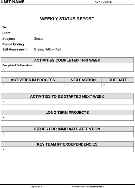weekly report template doc weekly status report template for free formtemplate