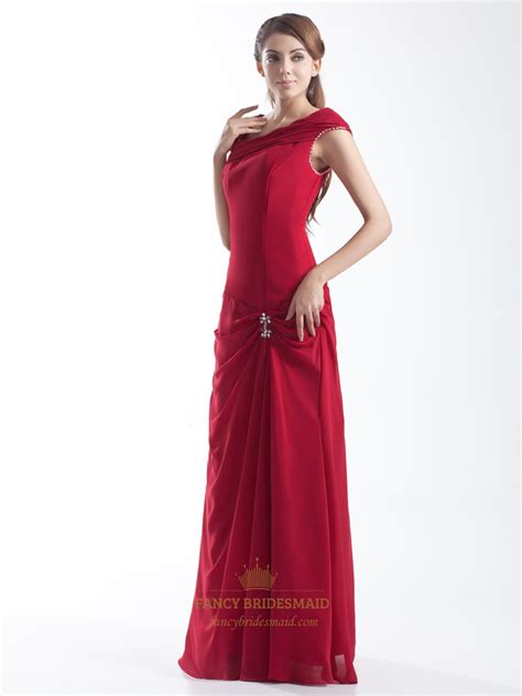 Longdress Cap asymmetrical chiffon cap sleeve prom dress with