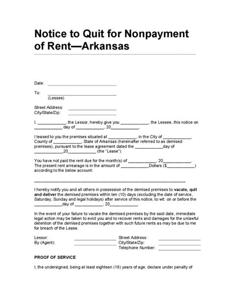 Reminder Letter For Nonpayment Of Rent Arkansas Notice To Quit For Nonpayment Of Rent