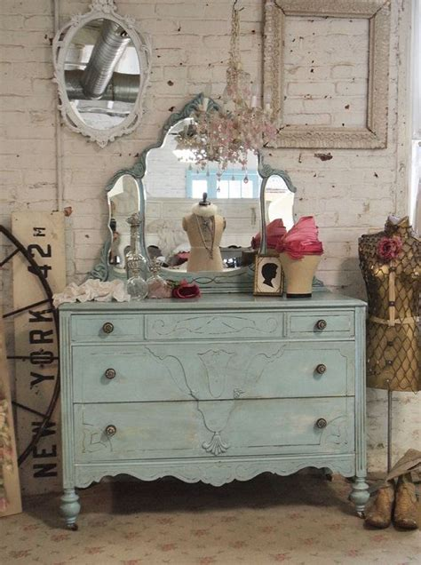 Shabby Chic Dresser With Mirror by Painted Cottage Chic Shabby Aqua Dresser With Tiara