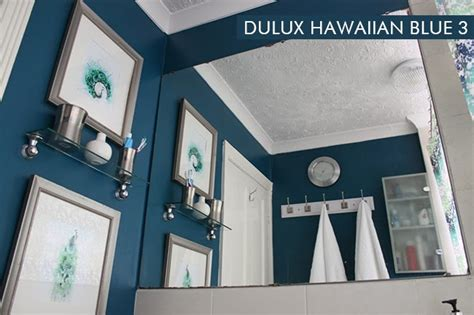 Dulux hawaiian blue walls in the bathroom interiors by color