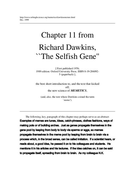 The Selfish Gene Meme - memes richard dawkins the selfish gene image memes at