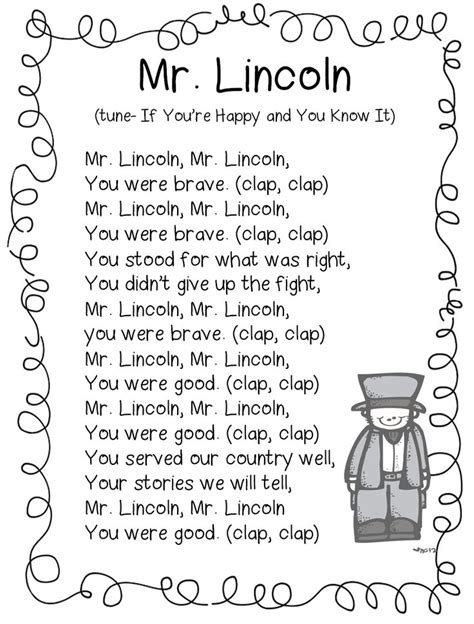 abe lincoln song february abe lincoln poetry birthdays