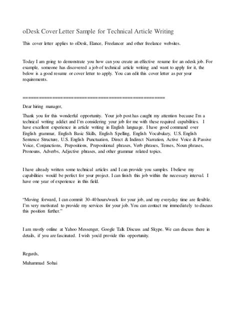 Technical Editor Cover Letter by Odesk Cover Letter Sle For Technical Article Writing