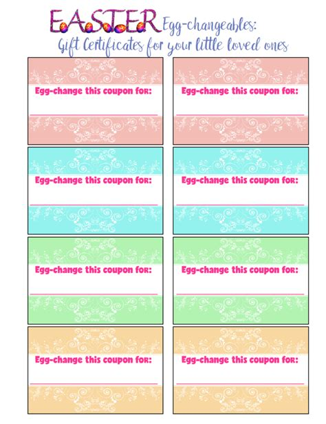 printable gift certificates for easter free printable easter gift certificates for kids