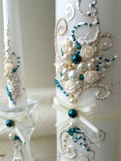 teal and ivory wedding ideas gorgeous wedding unity candle set in ivory gold and teal