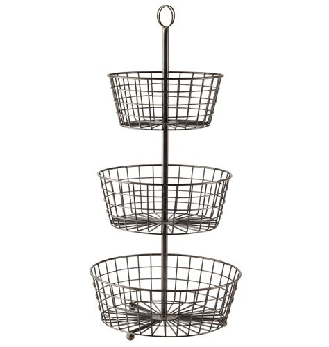 obst etagere fresh hanging wire fruit basket crate and barrel 19042