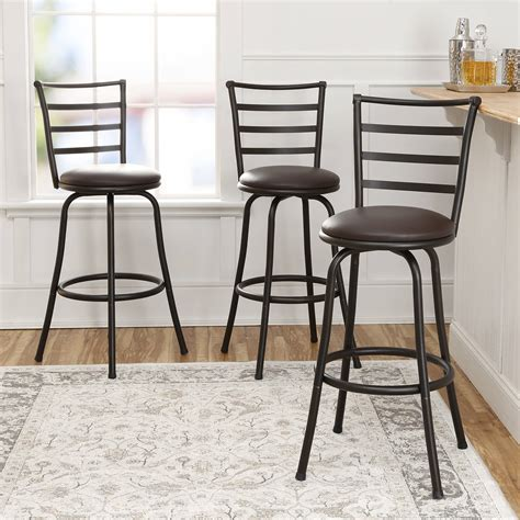 mainstays adjustable metal swivel bar stools new mainstays adjustable height swivel bar stool set of 3